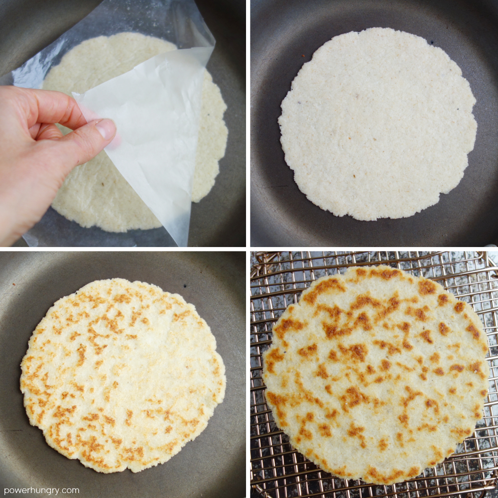 4 photo collage showing the step by step process for cooking an almond flour tortilla