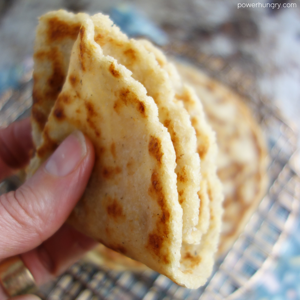 quartered almond flour tortilla