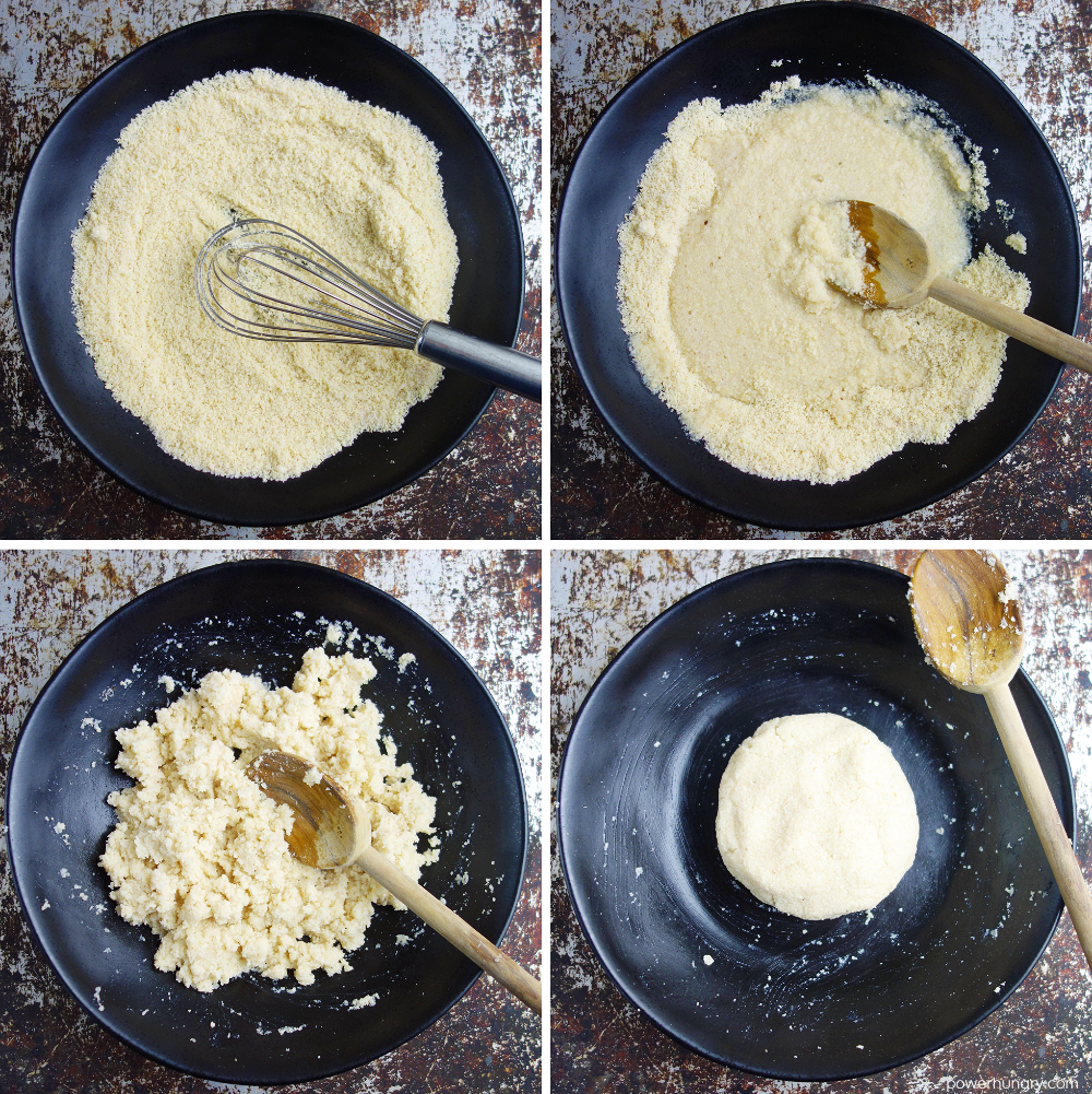 4 photo collage of making dough for almond flour tortillas