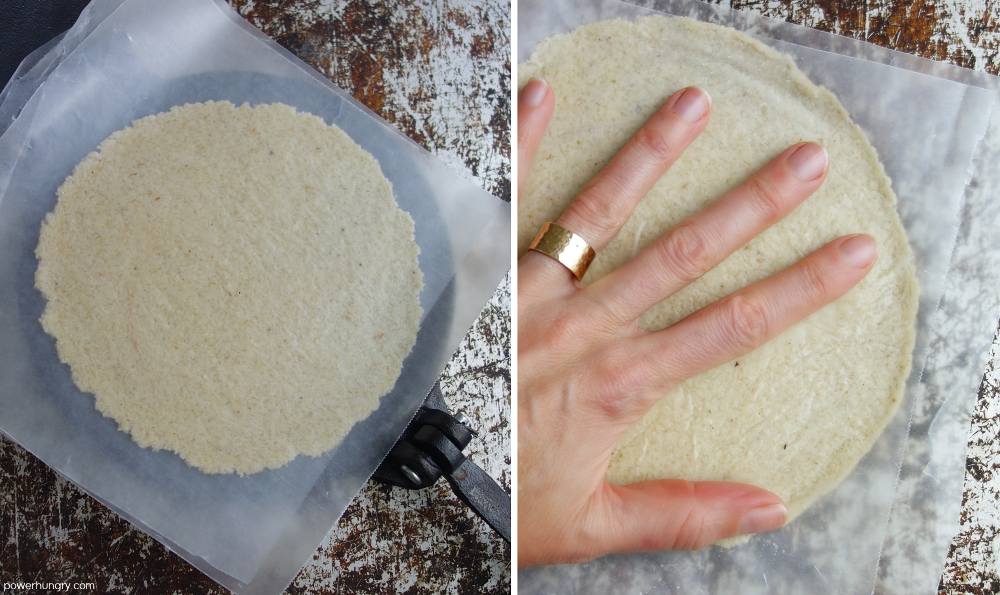 two photo collage showing alternative ways to press out tortilla dough