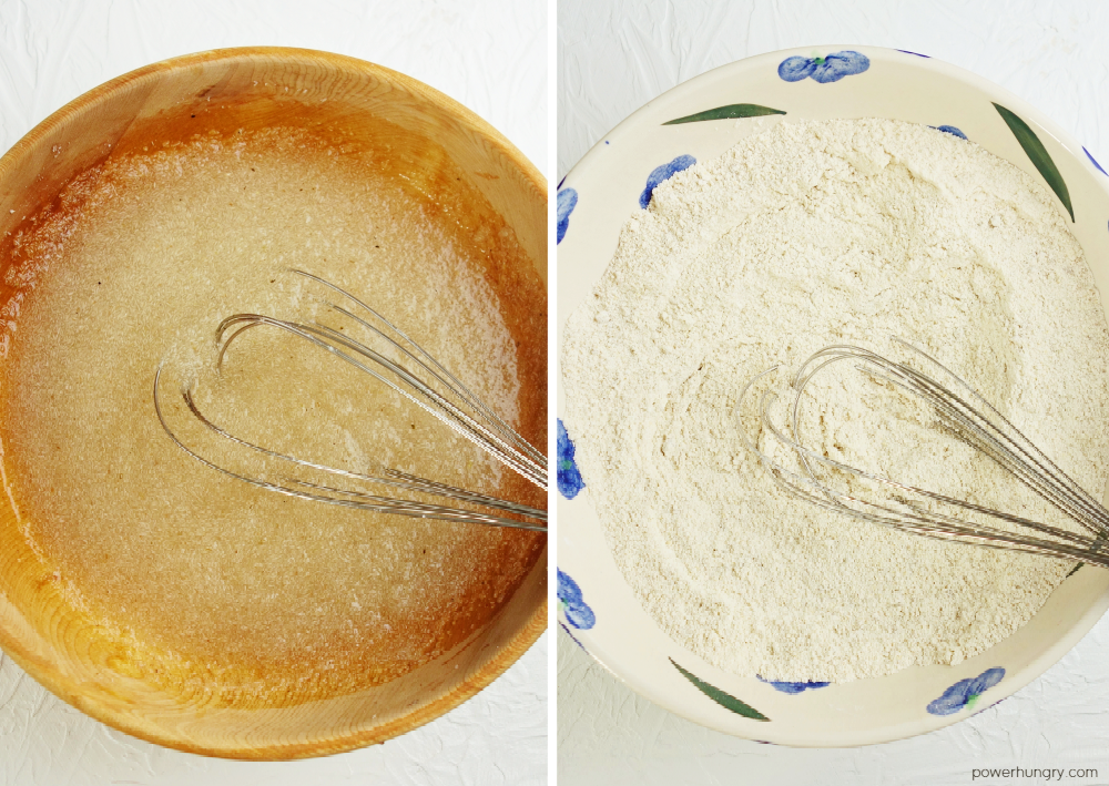 2 picture collage showing the wet, and the dry, ingredients for oat bread