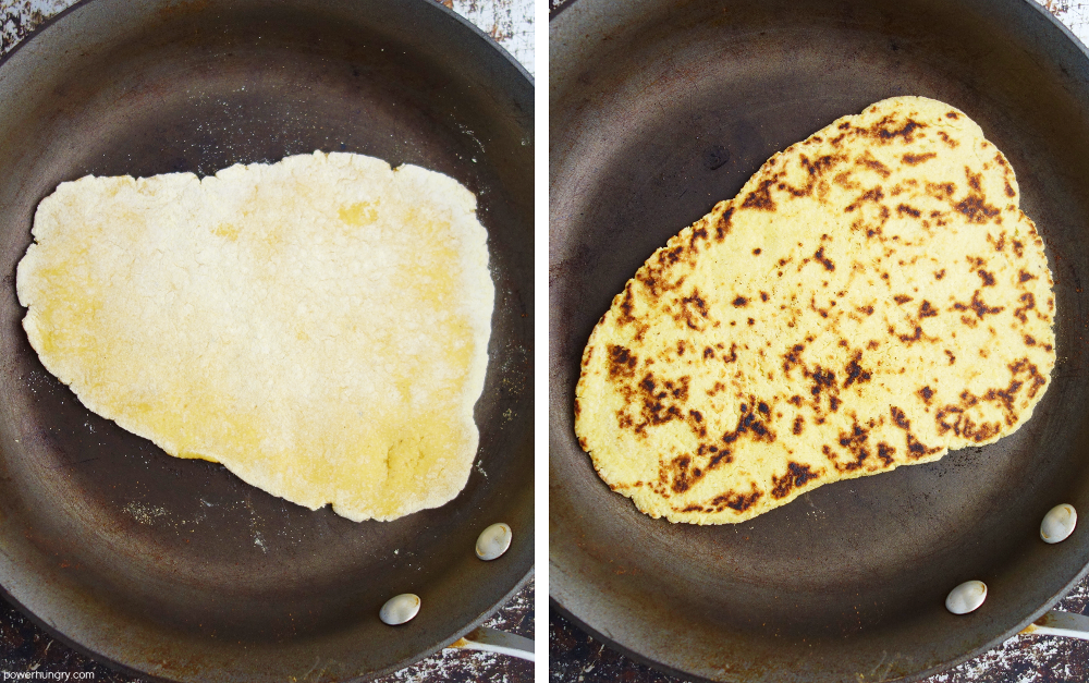 two photo collage showing how to cook grain-free naan in a skillet