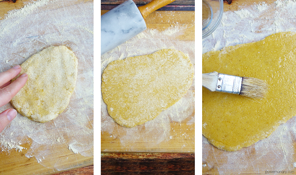three photo collage showing of the steps to roll out naan dough
