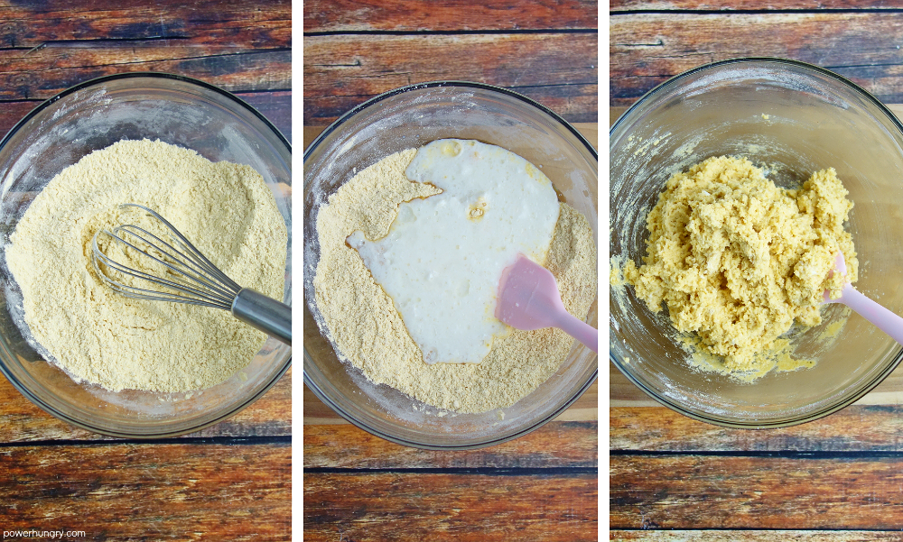 three photo collage showing the steps to make naan dough