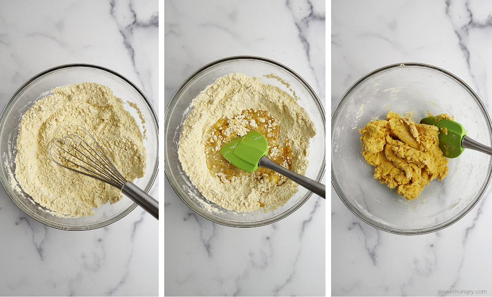 3photo collage of the steps to make chickpea flour breadstick dough