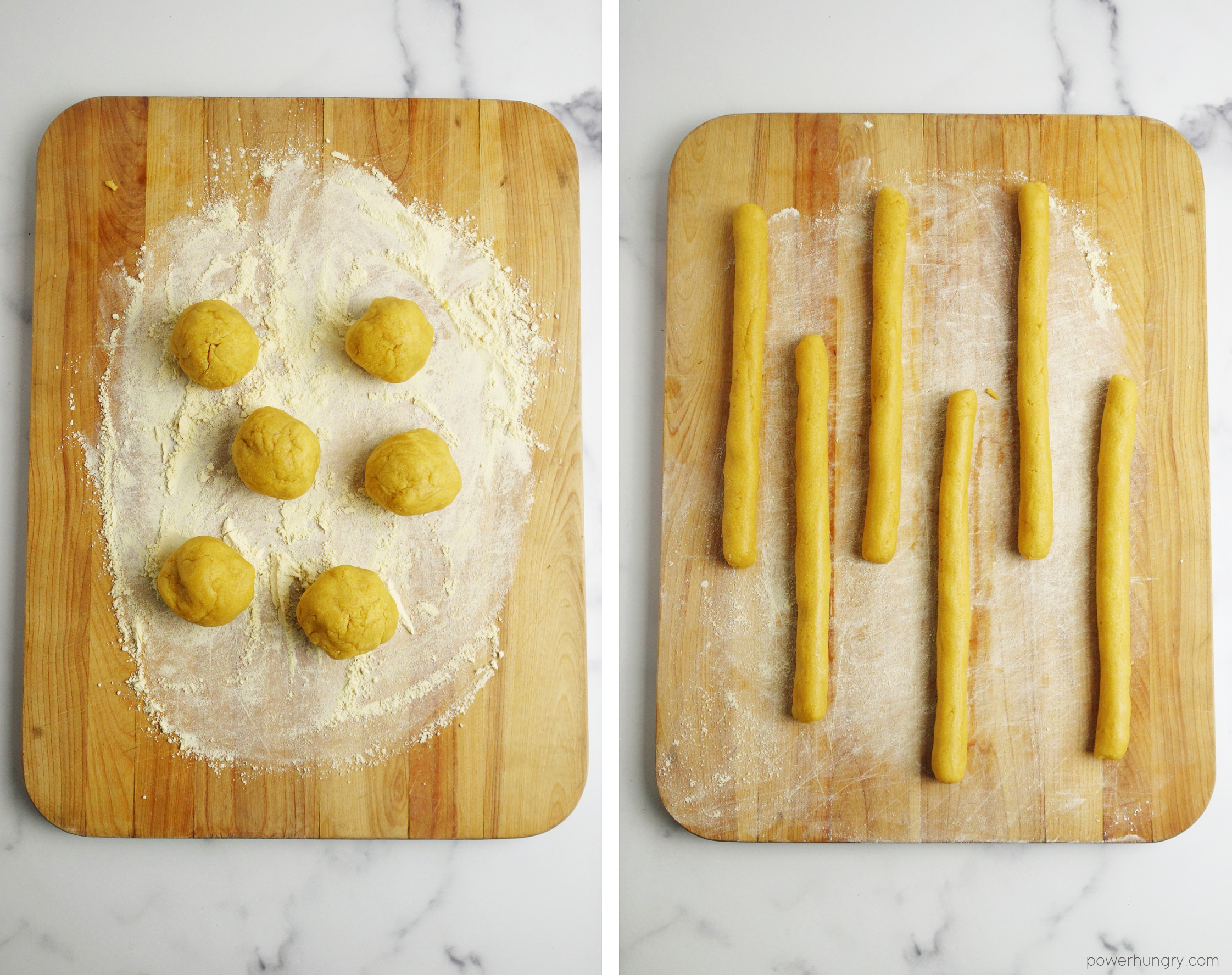 2 photo collage demonstrating the shaping of chickpea flour breadstick dough