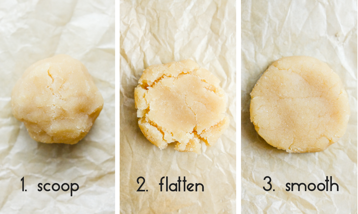 3 photo collage showing how to scoop and flatten the coconut flour shortbread dough