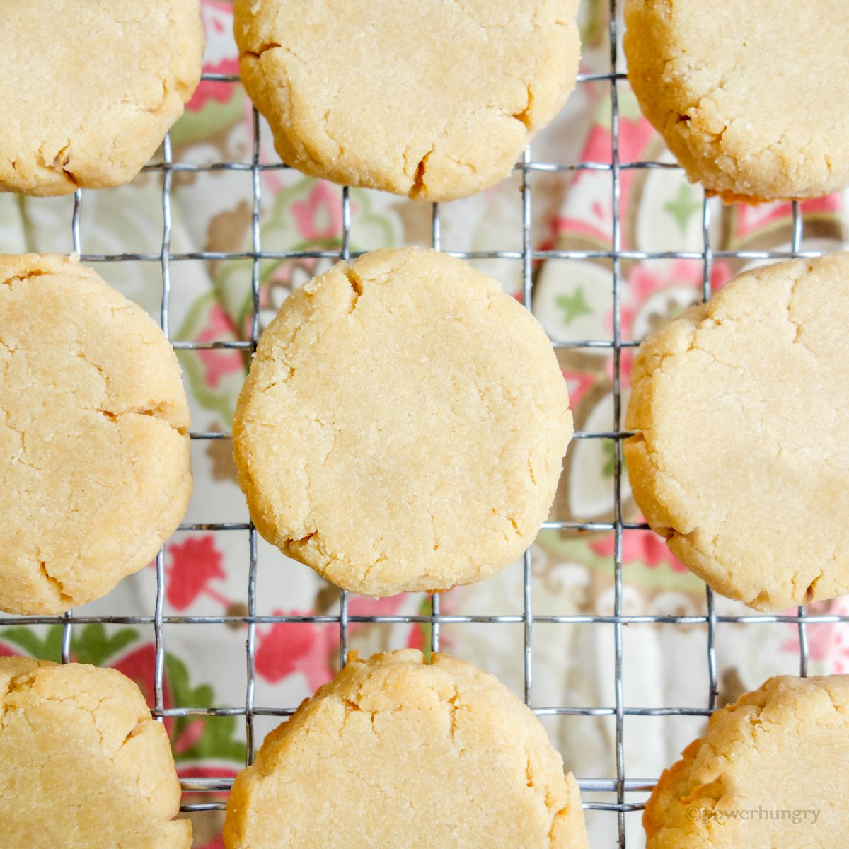 3-Ingredient Coconut Flour Shortbread  on a silver cooling rack