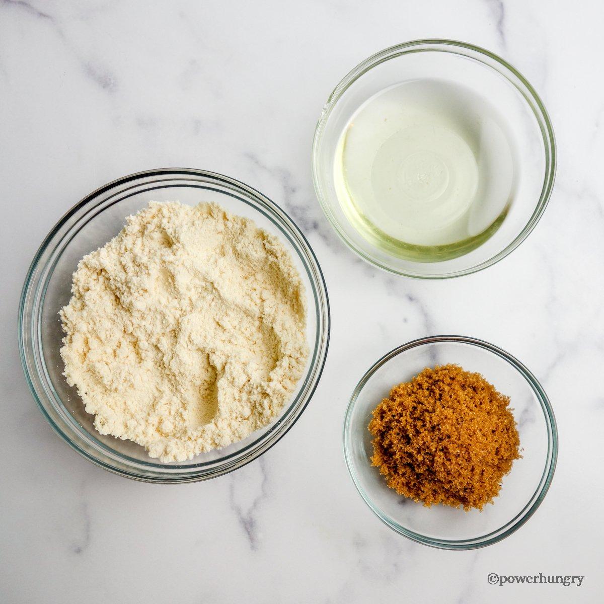 ingredients for coconut flour shortbread cookies