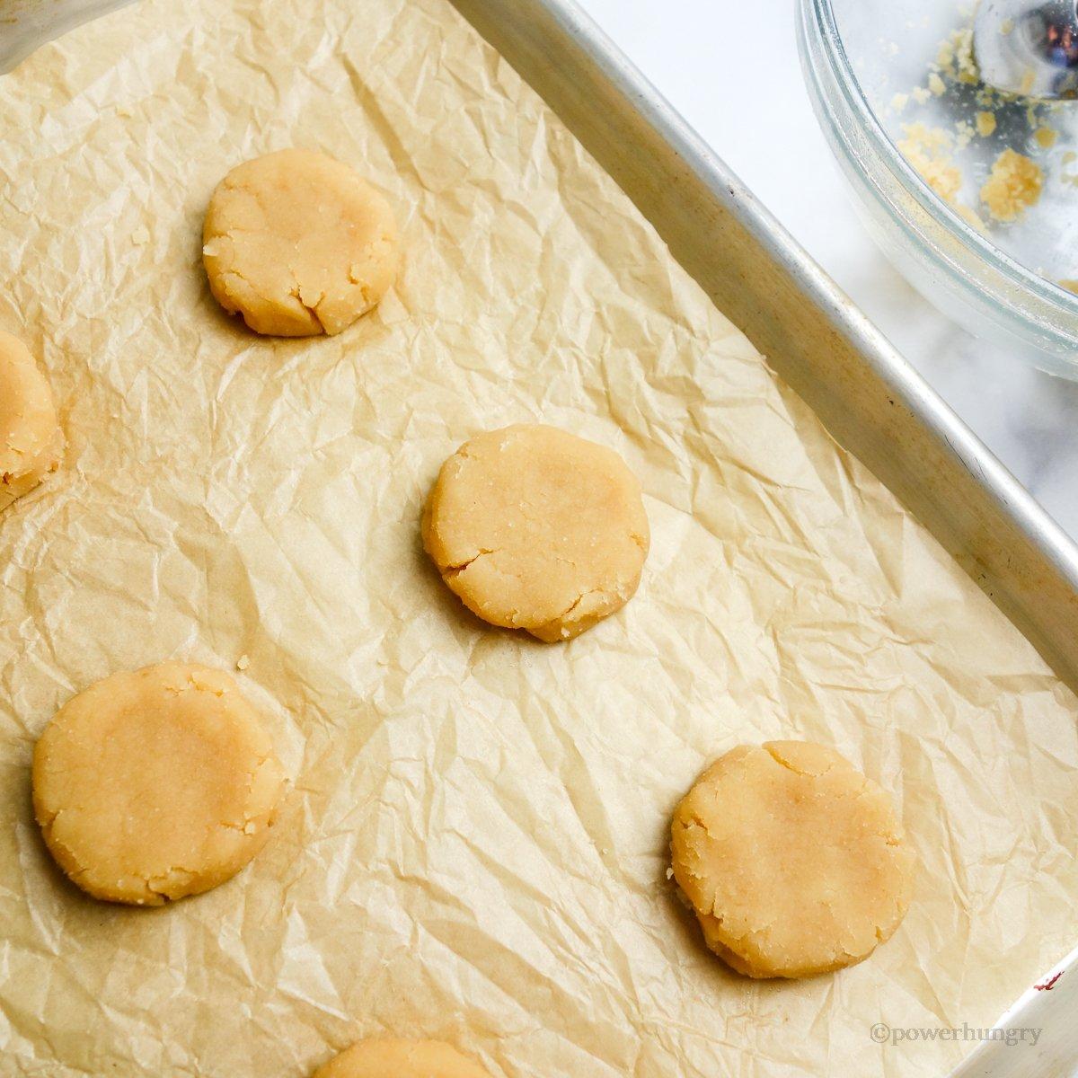 unbaked coconut flour shortbread on a baking sheet