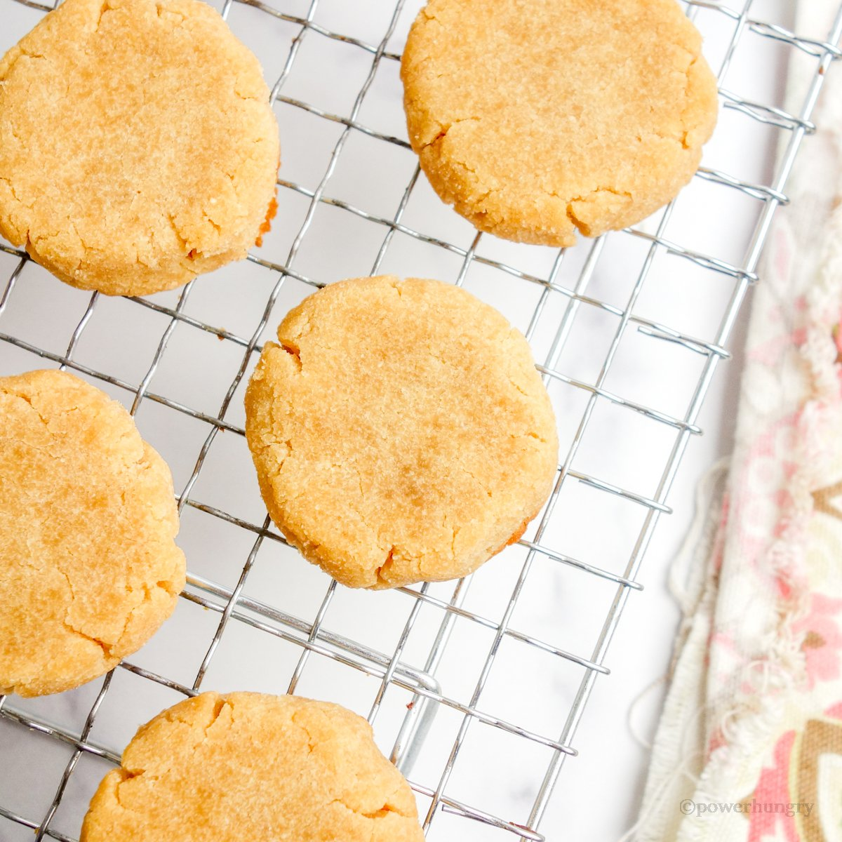 coconut flour shortbread on a wire cooling rack