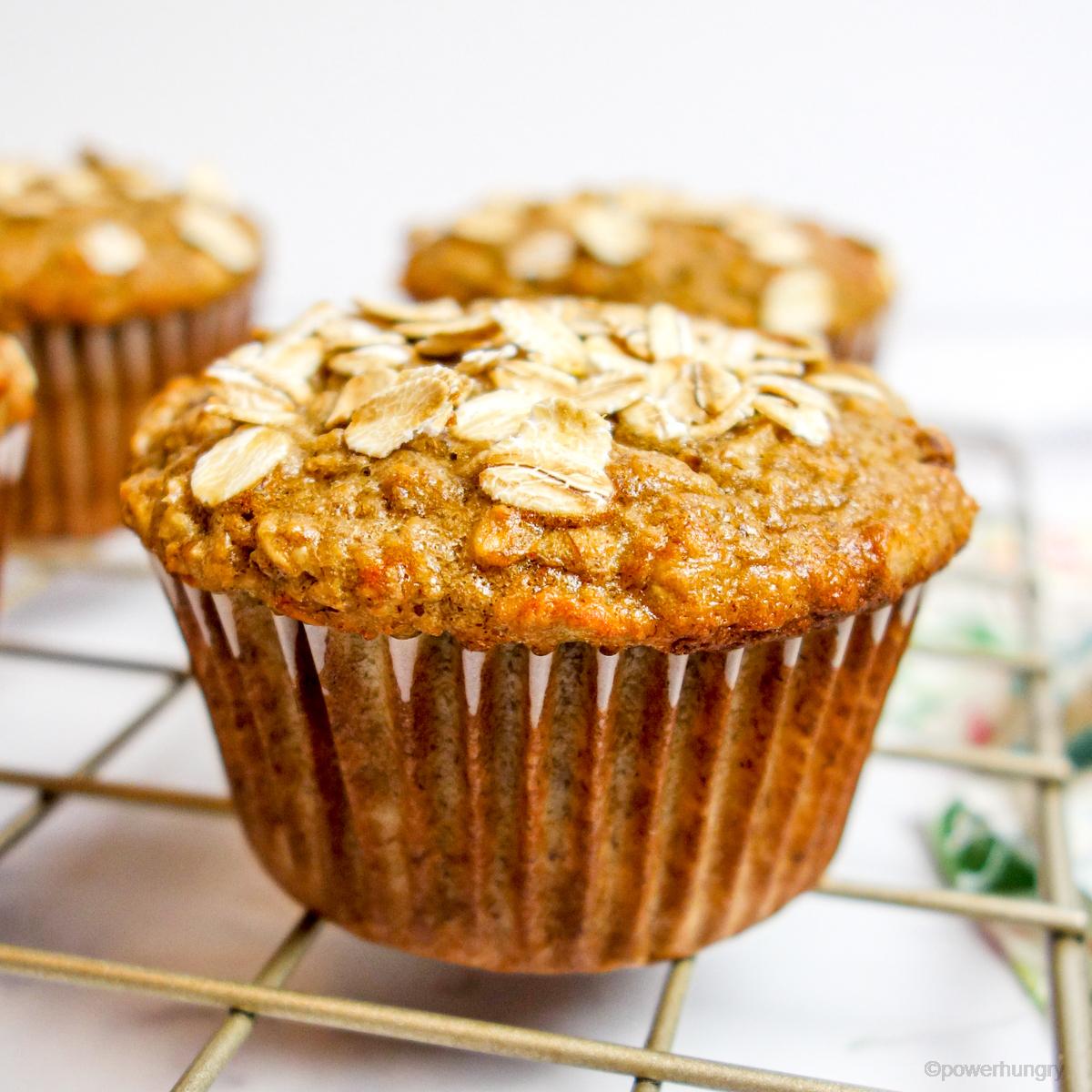 Vegan Peanut Butter Banana Oat Muffins (oil-free, GF)