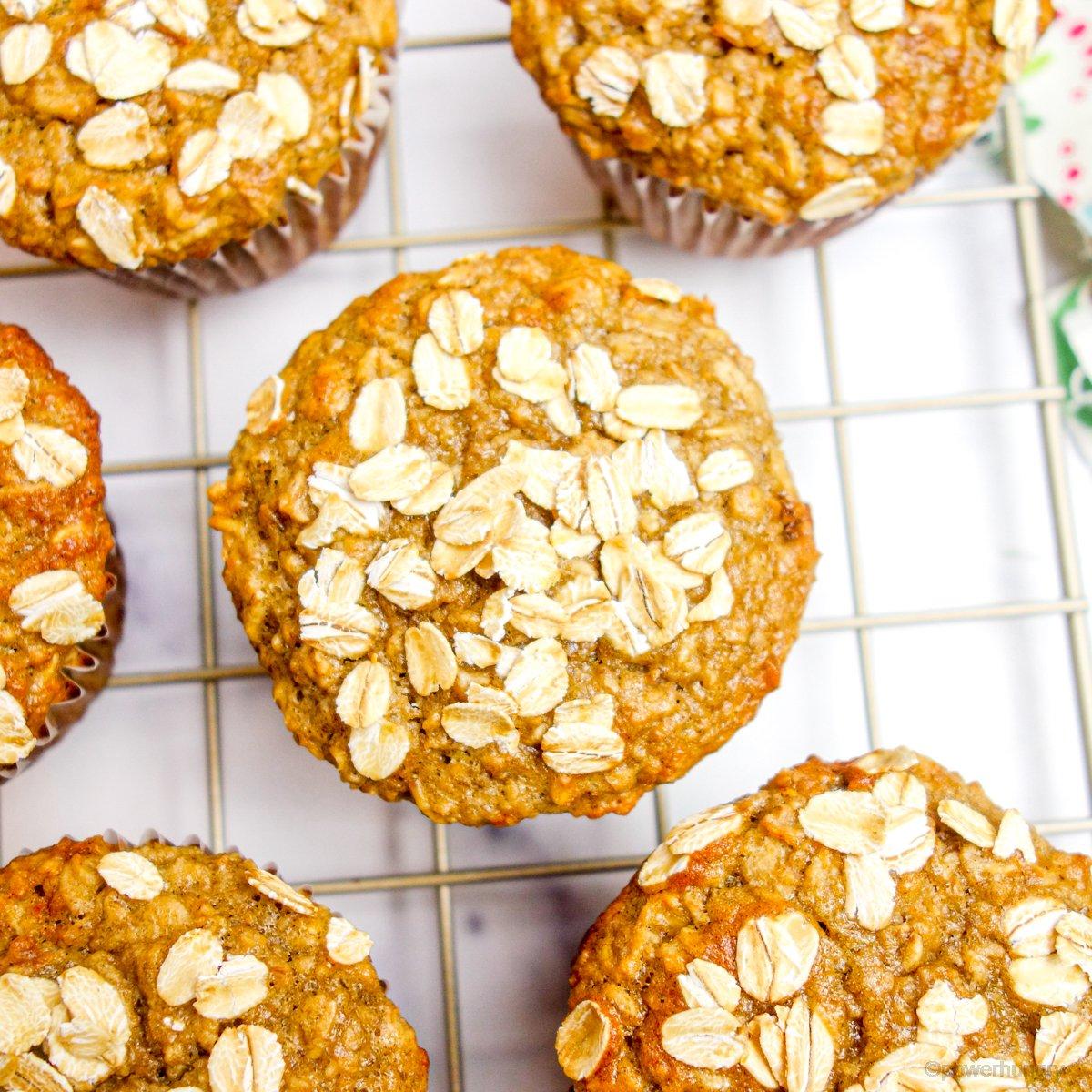 overhead shot of vegan GF banana oat muffins on a cooling rack