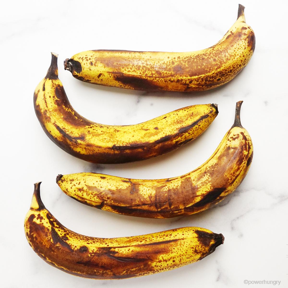 overead shot of 4 very ripe bananas