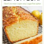 loaf of vegan grain-free lemon loaf on a wire rack