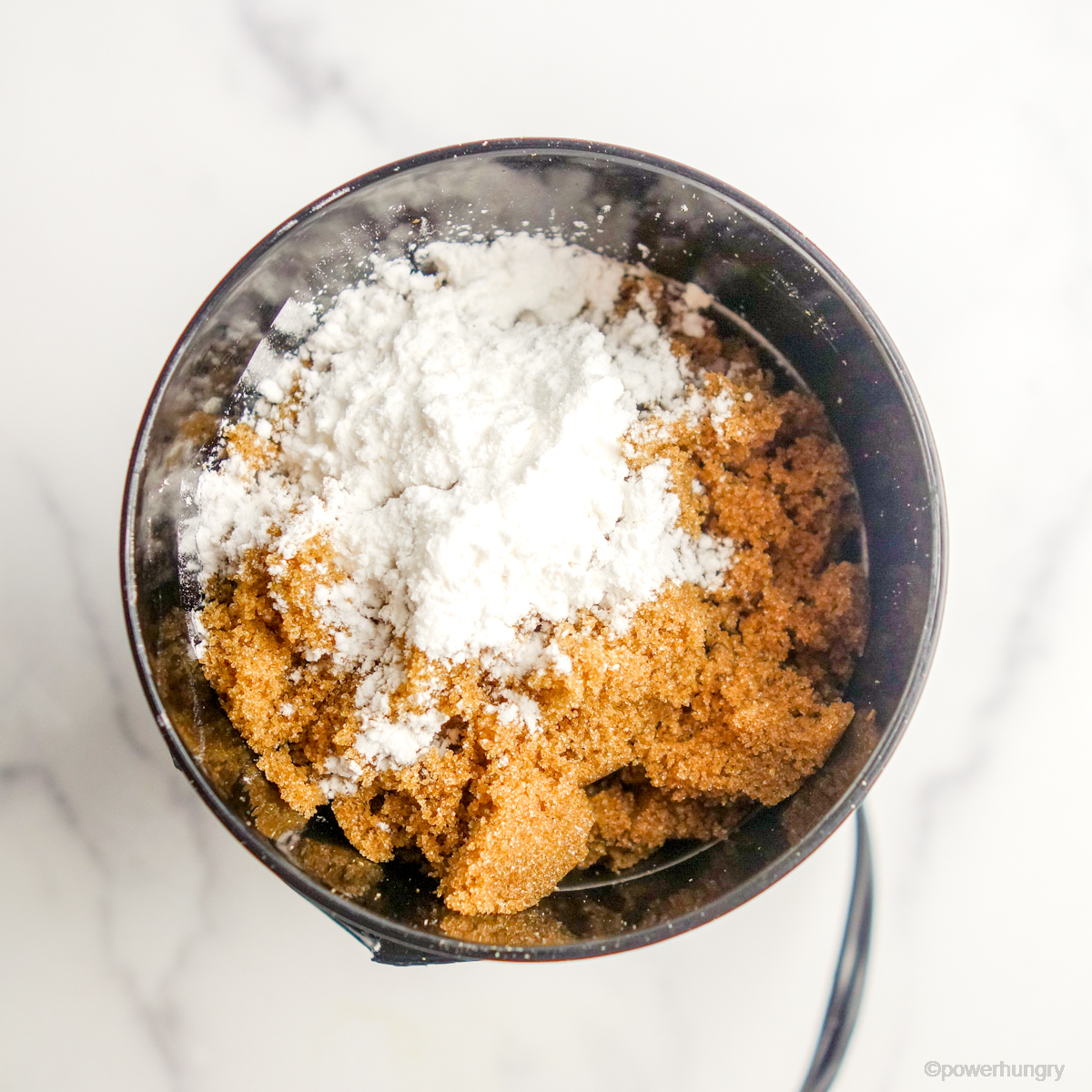 coffee grainder filled with coconut sugar and tapioca starch