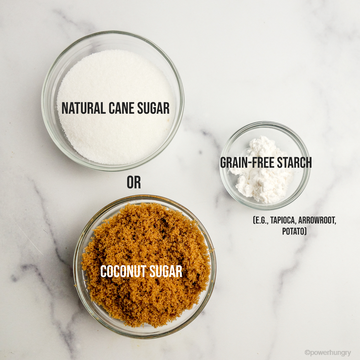 overhead shot of ingredients for diy grain-free powdered sugar