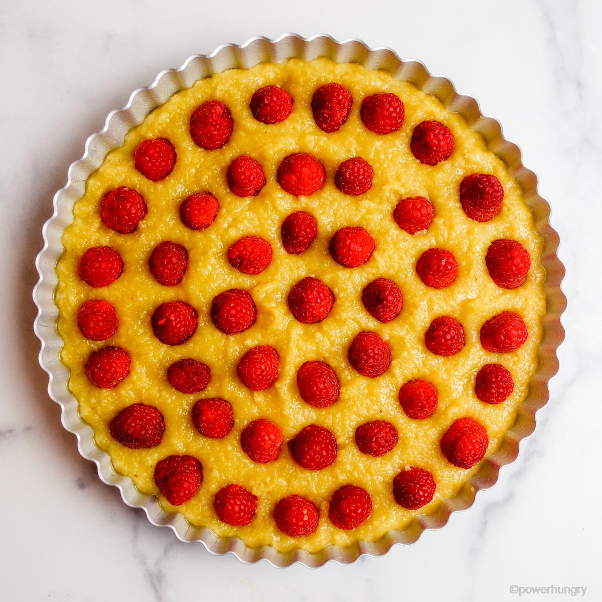 uncooked vegan no-crust raspberry almond tart