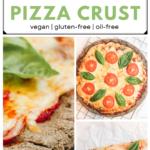 collage of buckwheat flour pizza crust photos