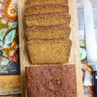 Overhead shot of grain free vegan pumpkin bread