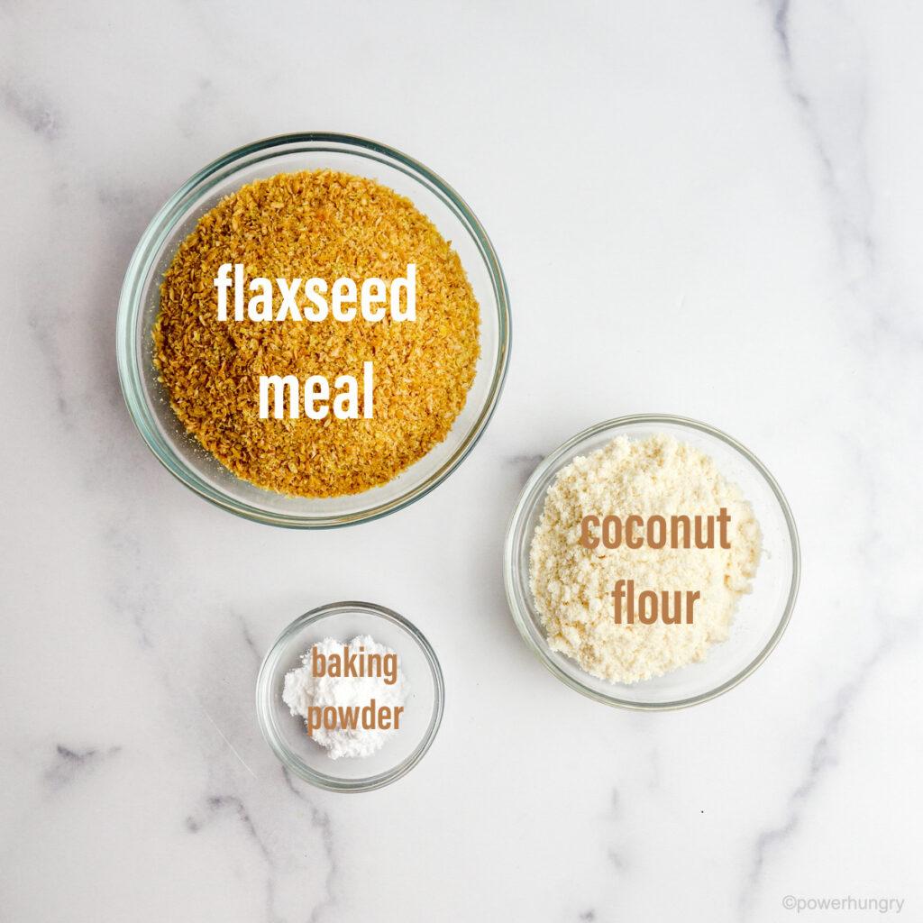 Ingredients for coconut flour focaccia