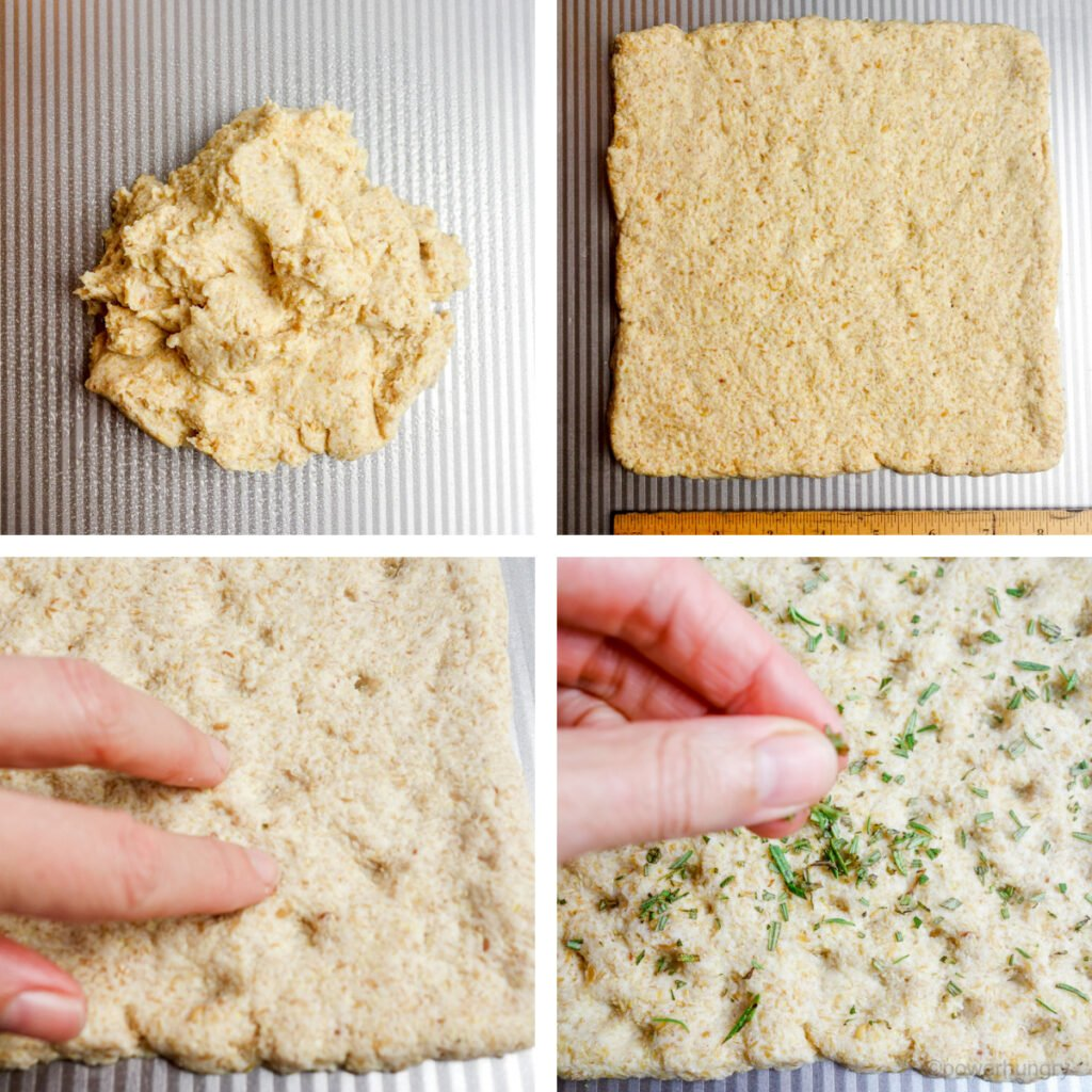 4 photo collage of how to press out coconut flour focaccia dough, dimple it, and sprinkle with optional toppings